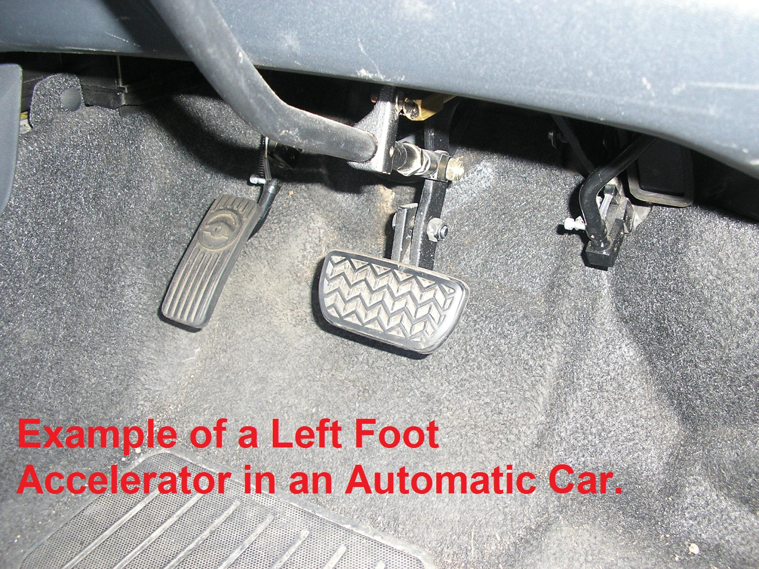 Example of a fitted left foot accelerator pedal